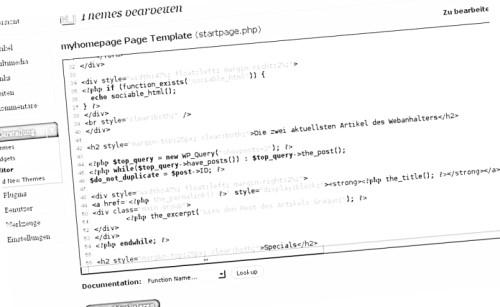 WordPress Codeansicht: Individuelle Startseite