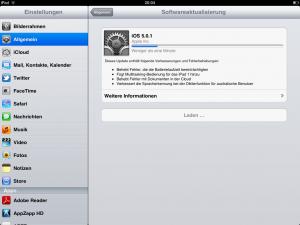 Update iOS 5.0.1 auf dem iPad 2