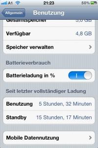 50% des Akku sind verbraucht - Übersicht der Akkukapazität des iPhone 4S