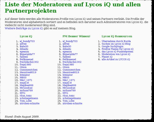 Alte Liste der Moderatoren bei LYCOS iQ