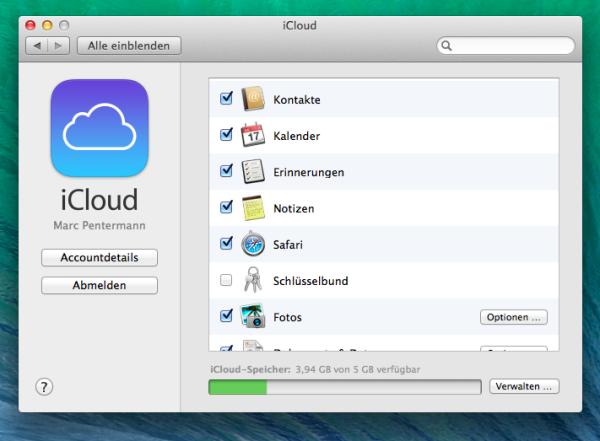 Systemeinstellungen der iCloud unter Mavericks