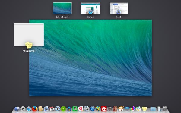 Mission Control: Übersicht der Desktops unter Mac OS X Mavericks