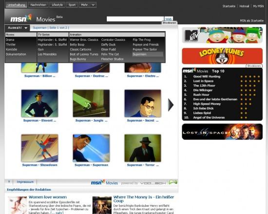 MSN Movies: Leiste mit Filmauswahl