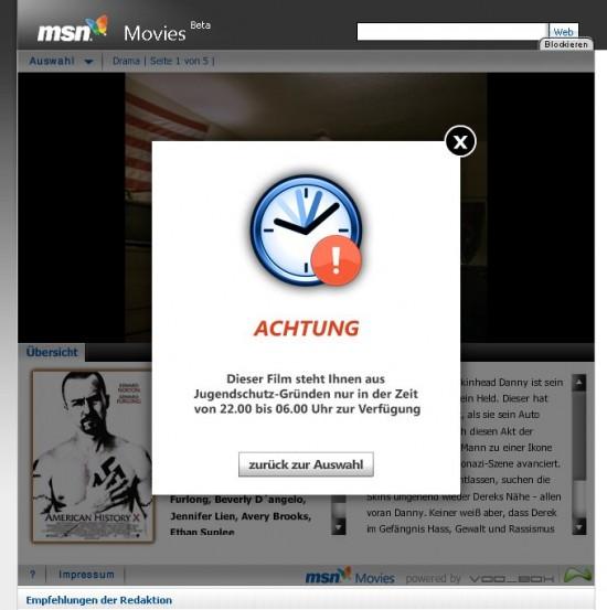 Jugendschutz bei MSN Movies