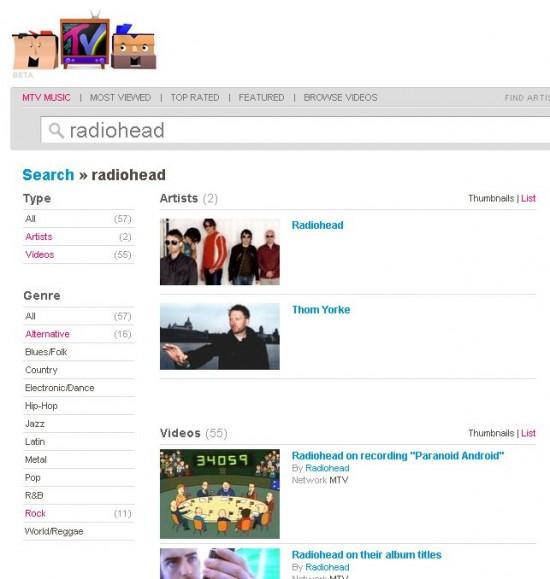 Suche bei MTV Music
