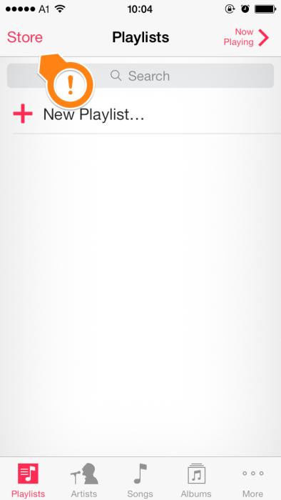 Musik App des iPhone 5S - Hierüber kann der iTunes Store gestartet werden