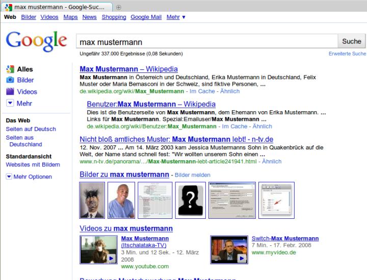 Der eigene Name bei Google?