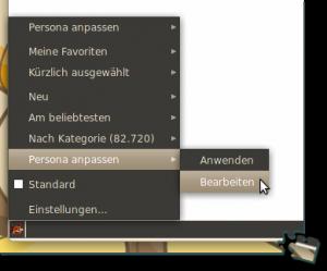 Über das Personas-Icon das eigene Personas editieren