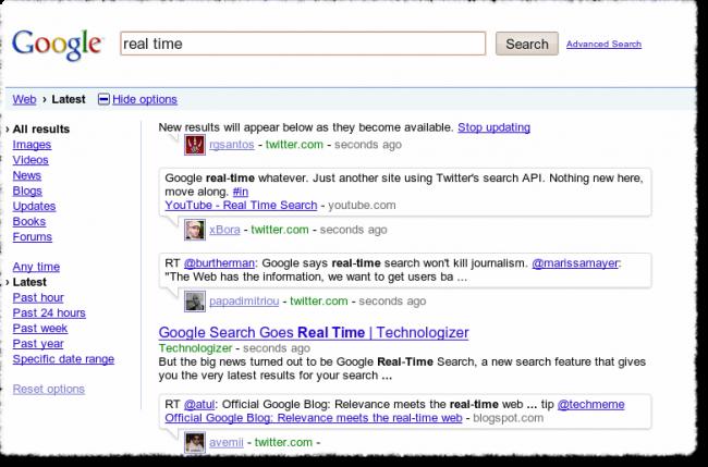Google Suche (real time) in Echtzeit