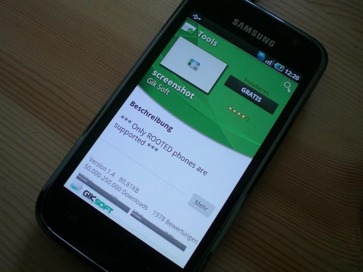 Root-Rechte werden für alle Screenshot-Apps benötigt