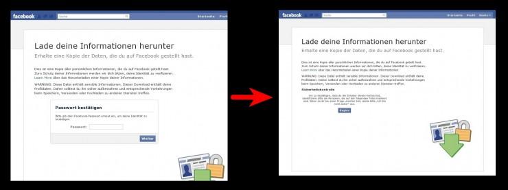 Sicherheitsabfragen vor dem Download des eigenen Facebook-Profils
