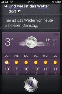 Kontinuität: Siri, wie ist das Wetter dort?