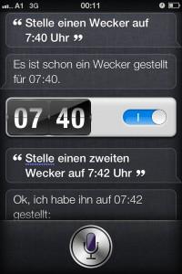 Einen Wecker stellen mit Siri