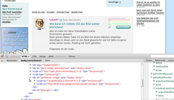 Schon jetzt wird JavaScript von Google Streetview bei COSMiQ eingebunden