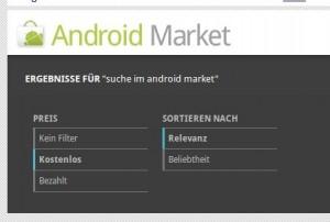 Suchoptionen im Android Market