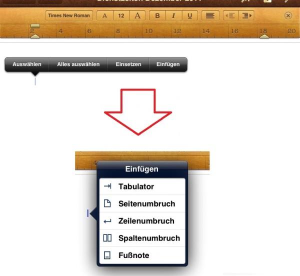 Tabulator einfügen in der Pages App auf dem iPad und iPhone