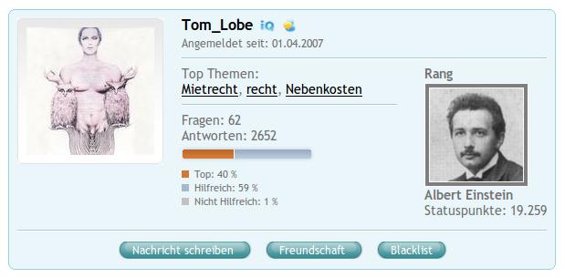 COSMIQ-Profil von Tom_Lobe