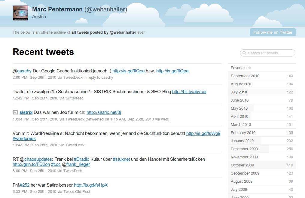 Tweet Nest - Startseite der archivierten Tweets