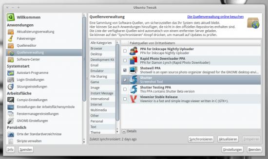 Quellenverwaltung von Ubuntu Tweak