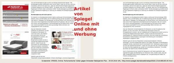 SPIEGEL Online Artikel mit und ohne Werbung