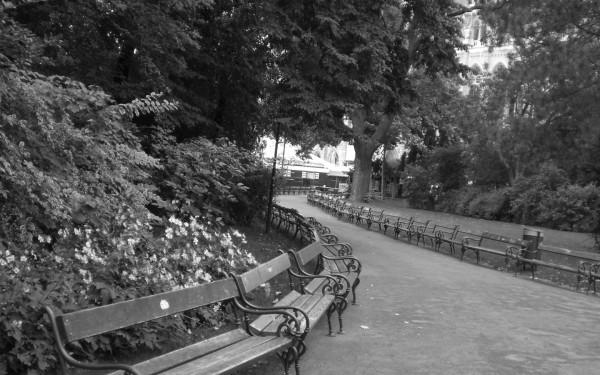 Wallpaper: Park in Wien - schwarz/weiß (Anklicken zur Großansicht/Download)